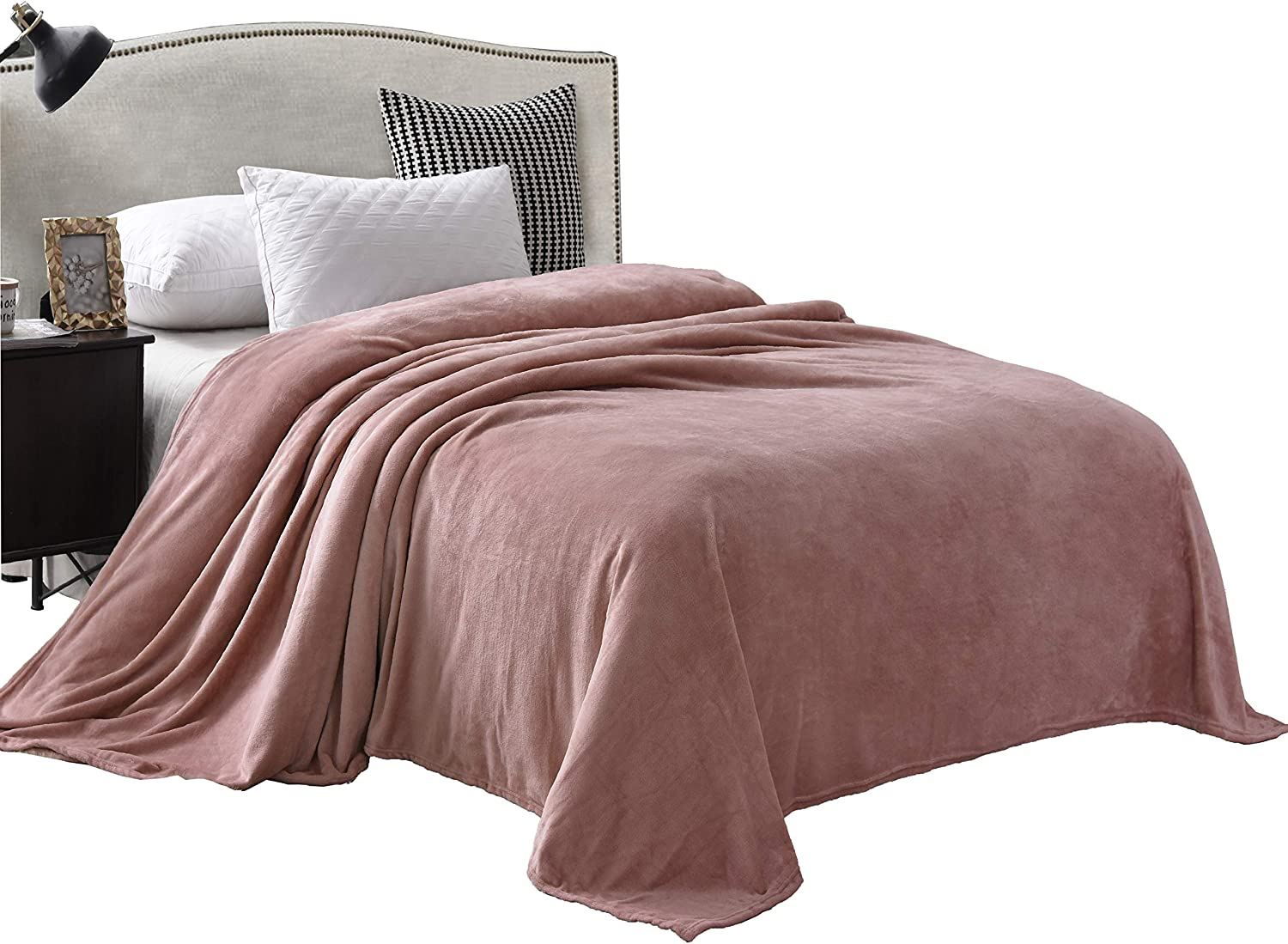 """Exclusivo Mezcla Luxury Queen Size Flannel Velvet Plush Solid Bed Blanket as Bedspread/Coverlet/Bed Cover (90"""" x 90"""", Pink) - Soft, Lightweight, Warm and Cozy"""