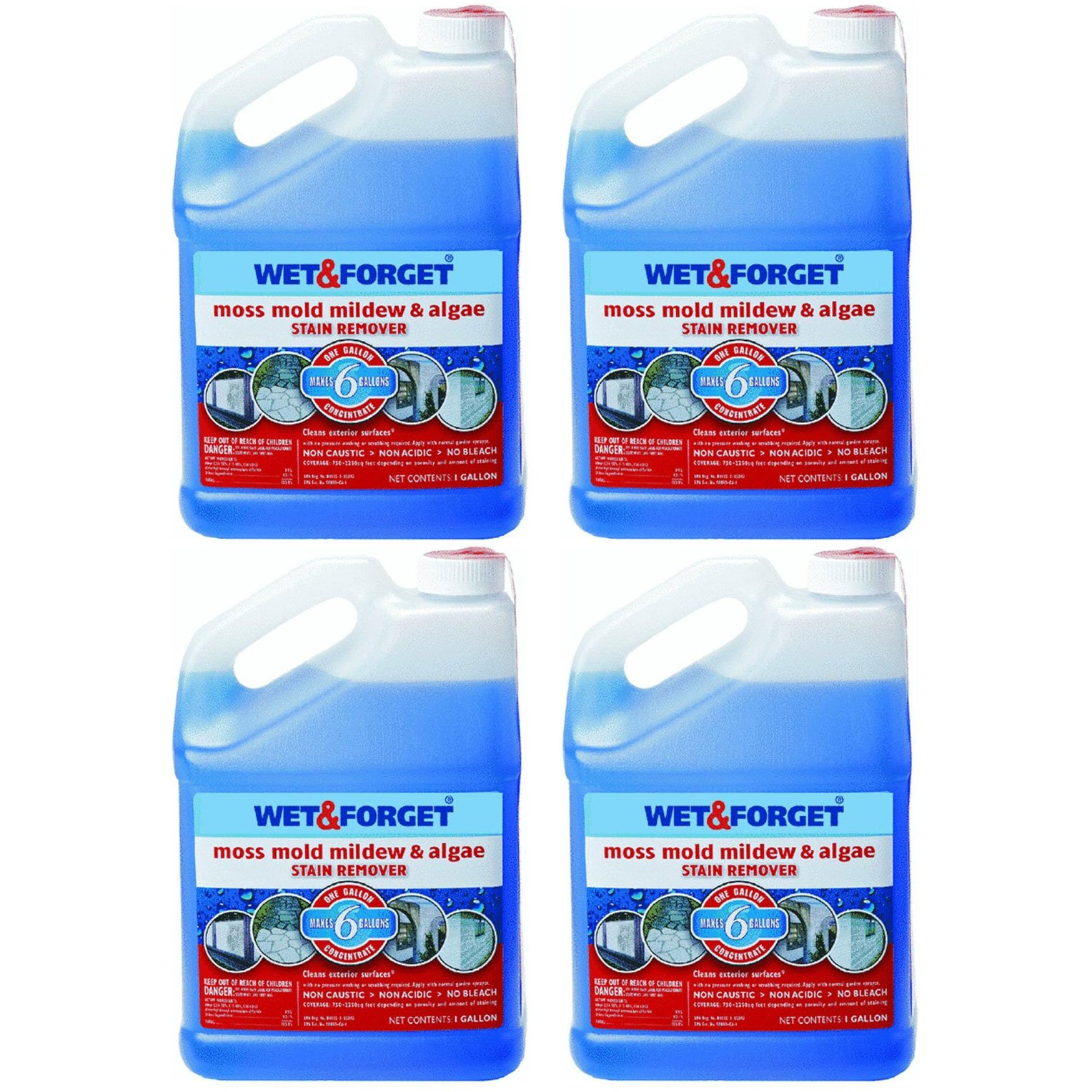 Wet and Forget Moss, Mold, Mildew & Algae Stain Remover, 1 Gallon Concentrate Makes 6 Gallons - 4 Pack