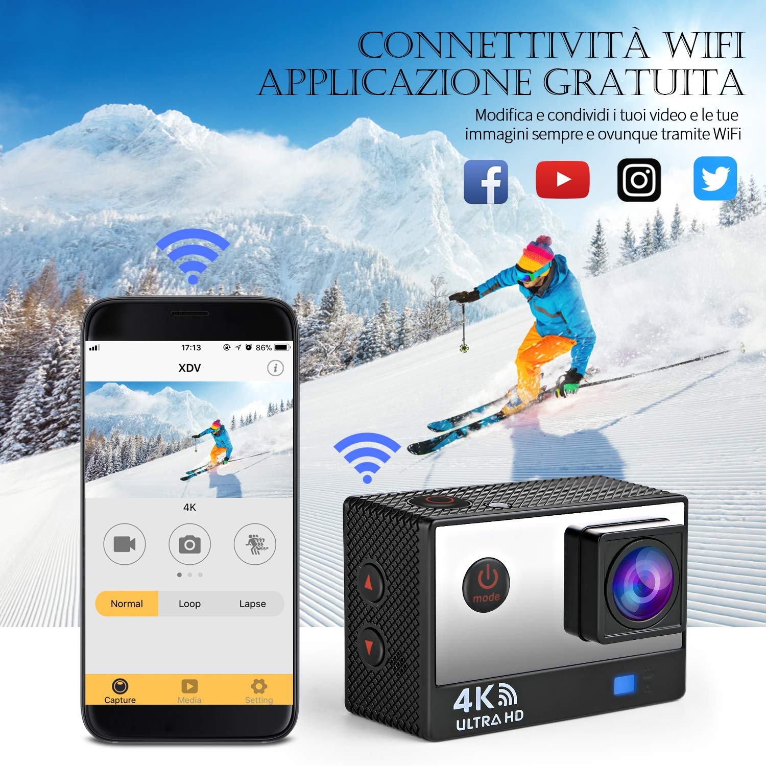 Ifecco Action Cam 4k WiFi 16MP Ultra HD Sport Action Camera Impermeabile 30M Wide View Angle 170 ° con Due 1050mAh Batterie Dual Screen Telecomando e Kit Accessori (Nero)