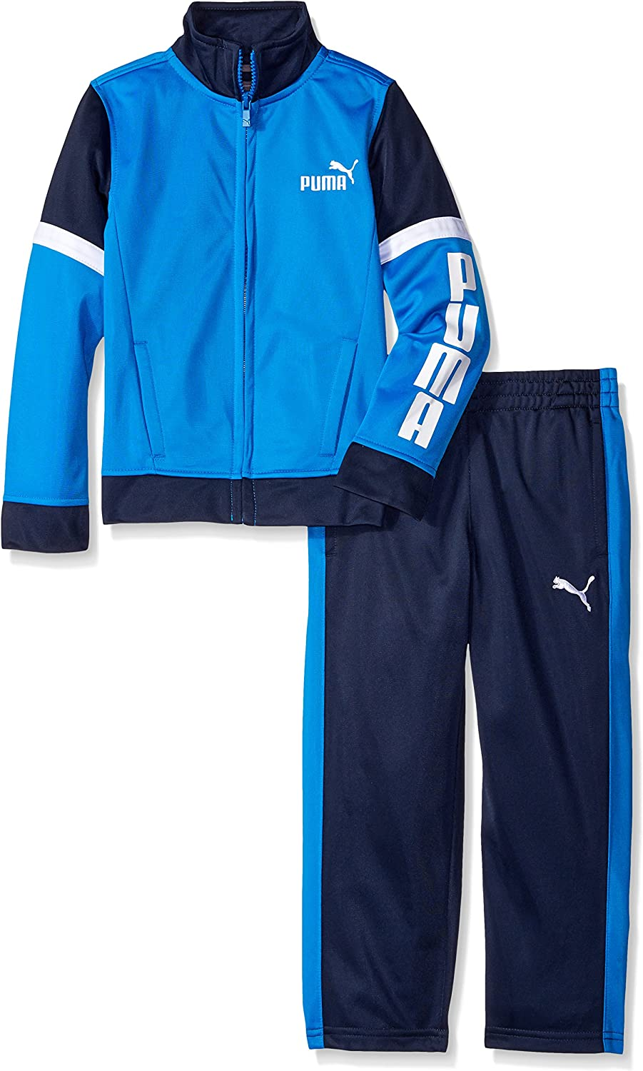 PUMA Little Boys' Toddler Tricot Jacket and Pant Set, Blue Stripe, 2T: Clothing