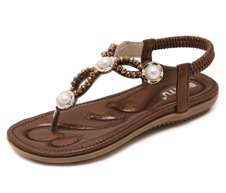 Women's Coffee Pearl Design Elastic Thong Summer Flat Sandals