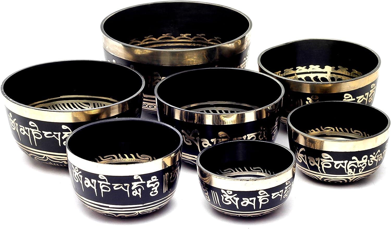 Chakra Healing Tibetan Singing Bowl Sets 7 Sets of Meditation Bowls From Nepal Black painted
