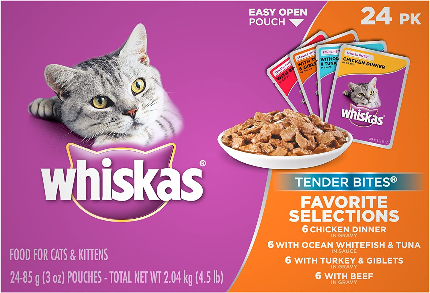 Whiskas Tender Bites Favorite Selections Wet Cat Food Pouches