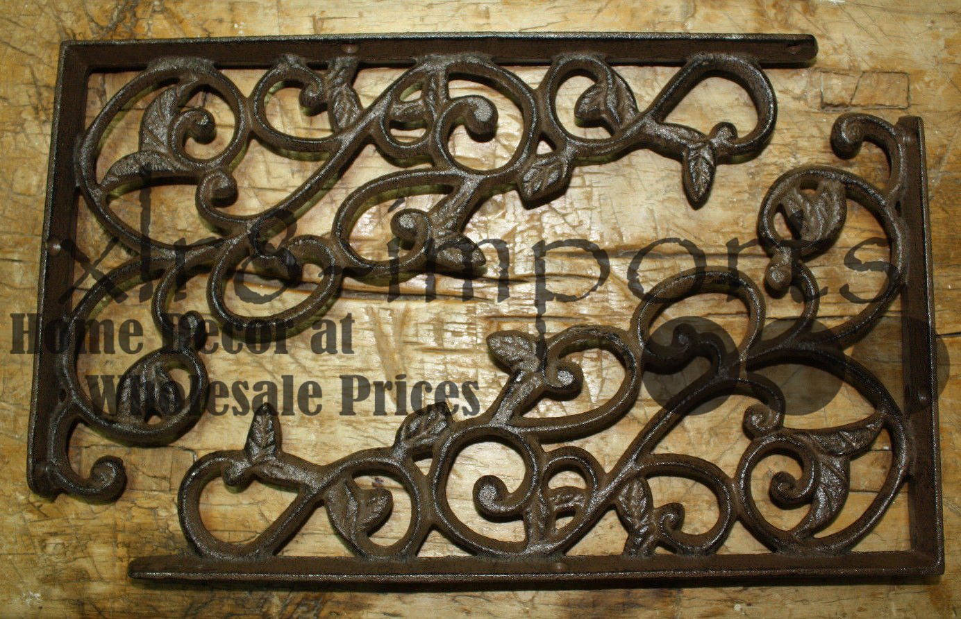8 Cast Iron Antique Style LEAVES & VINE Brackets, Garden Braces Shelf Bracket , Garden Braces Shelf Bracket , Garden Braces Shelf Bracket RUSTIC , Wall Brackets Shelf Support for Storage
