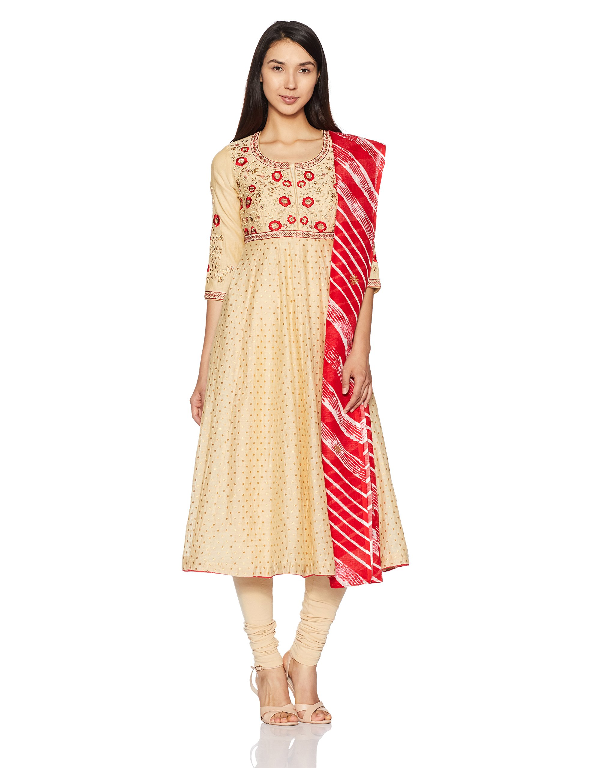BIBA Women's Anarkali Poly Cotton Suit Set 32 Beige by Biba (Image #1)
