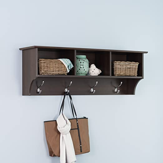 Hallway Coat Storage Entryway Cubbie Shelf Espresso