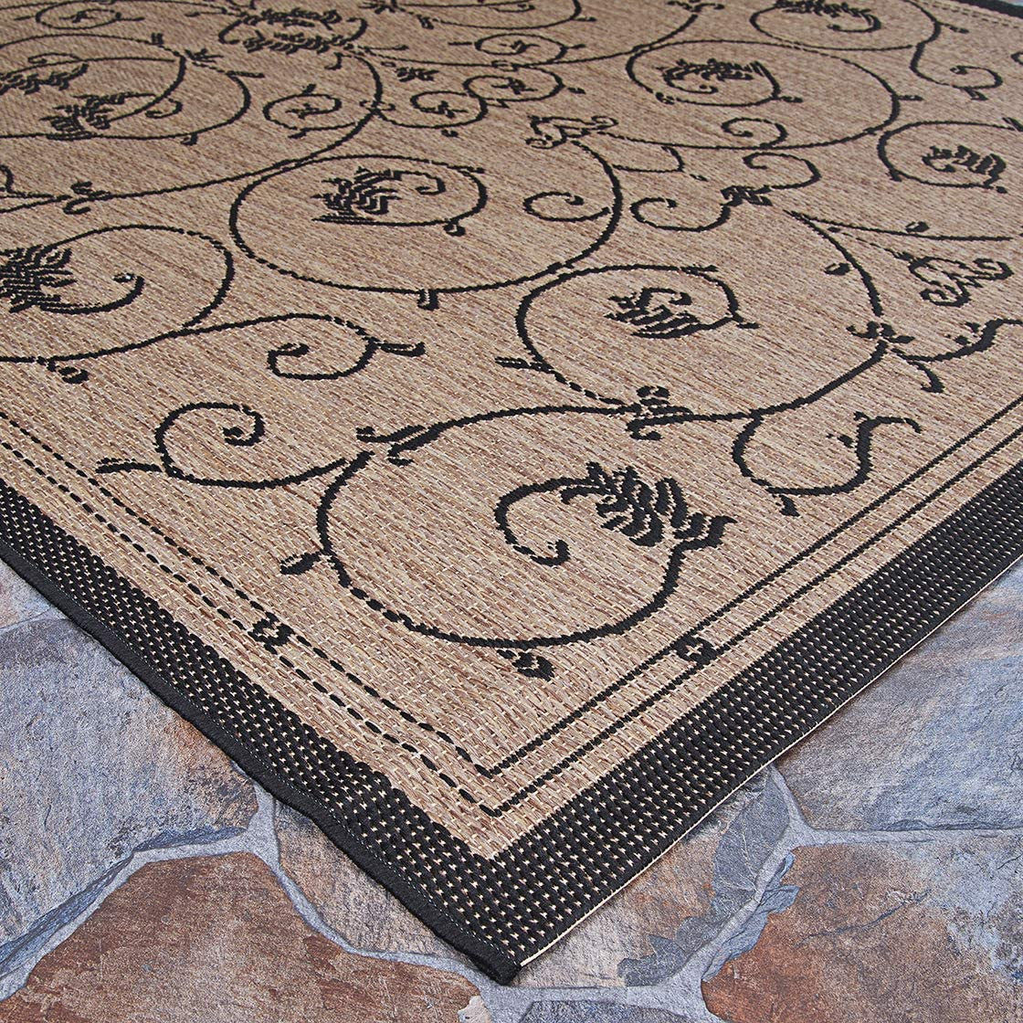Couristan Recife Veranda 7-Feet 6-Inch by 10-Feet 9-Inch Rug, Cocoa and Black