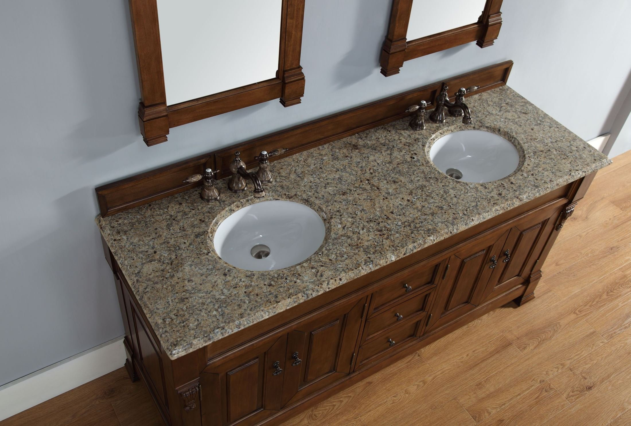 James Martin 147-114-5771-DSC Brookfield 72'' BCountry Oak Double Vanity with Santa Cecilia Stone Top
