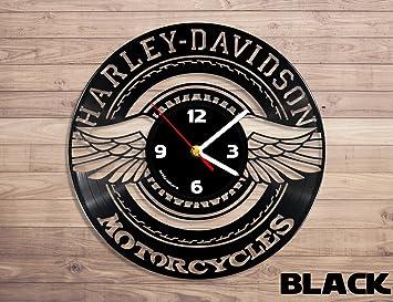 Harley Davidson motocicleta Logo reloj de pared de disco de vinilo: Amazon.es: Hogar