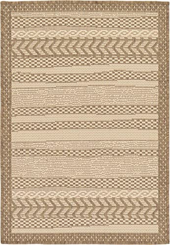 Unique Loom Outdoor Border Collection Striped Moroccan Transitional Indoor and Outdoor Flatweave Beige Area Rug 2 2 x 3 0