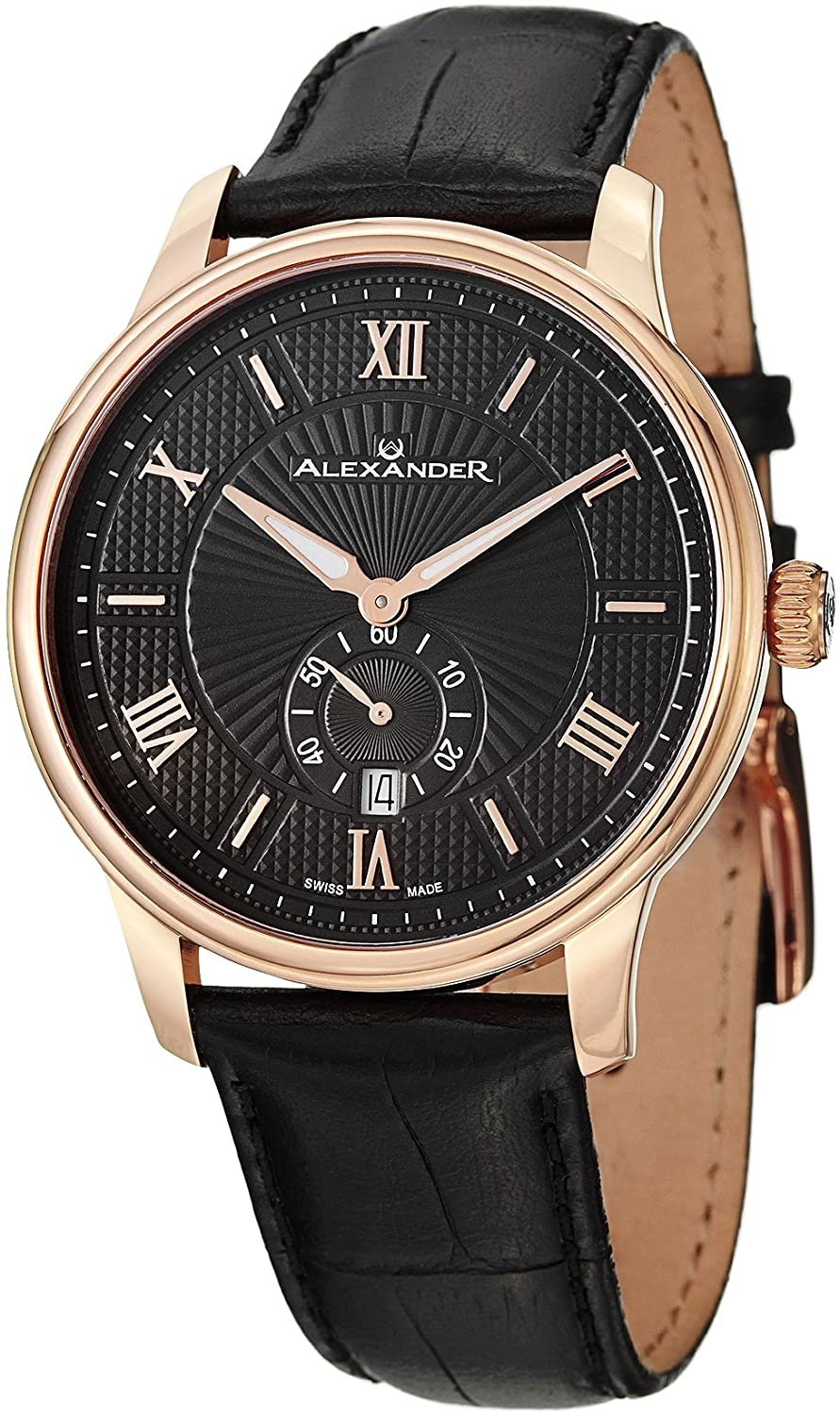 b816258130c Alexander Statesman Regalia Wrist Watch for Men - Black Leather Analog  Swiss Watch - Stainless Steel Plated Rose Gold Watch - Black Dial Date  Small Seconds ...