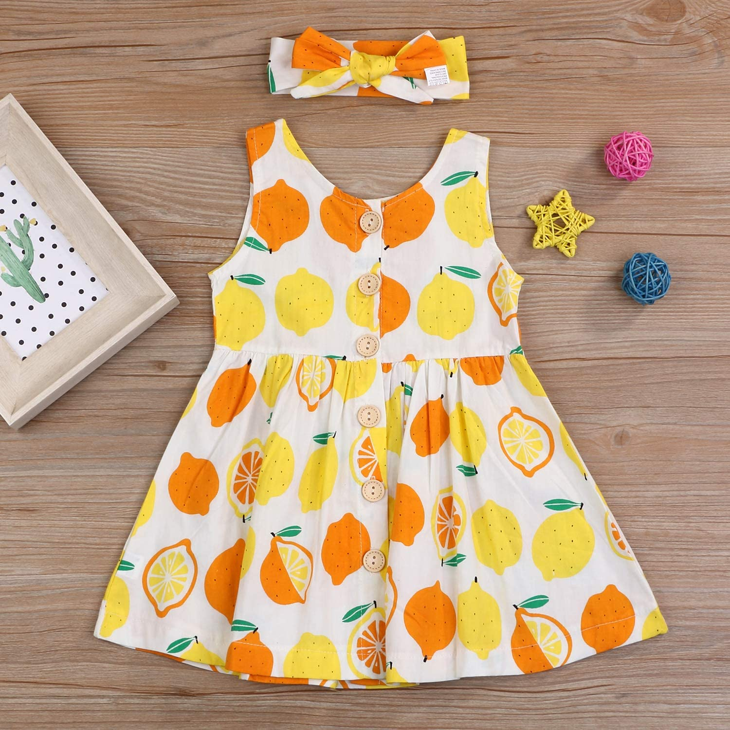 YOUNGER TREE Toddler Dresses Lemon Baby Girls Pineapple Fruit Dress Outfit Summer Girl Dress Spring Sundress