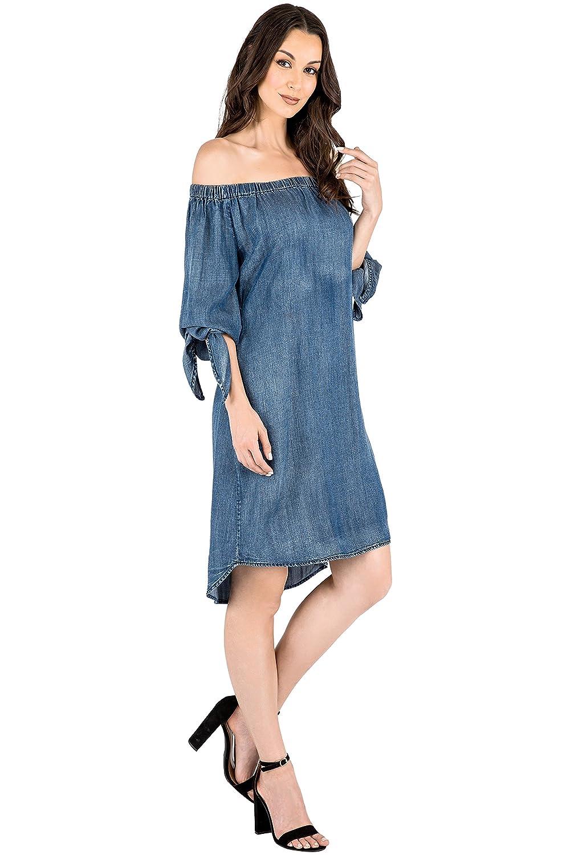 f7c0b63823b Standards   Practices Modern Women s Denim Tencel Off Shoulder Peasant Dress  at Amazon Women s Clothing store