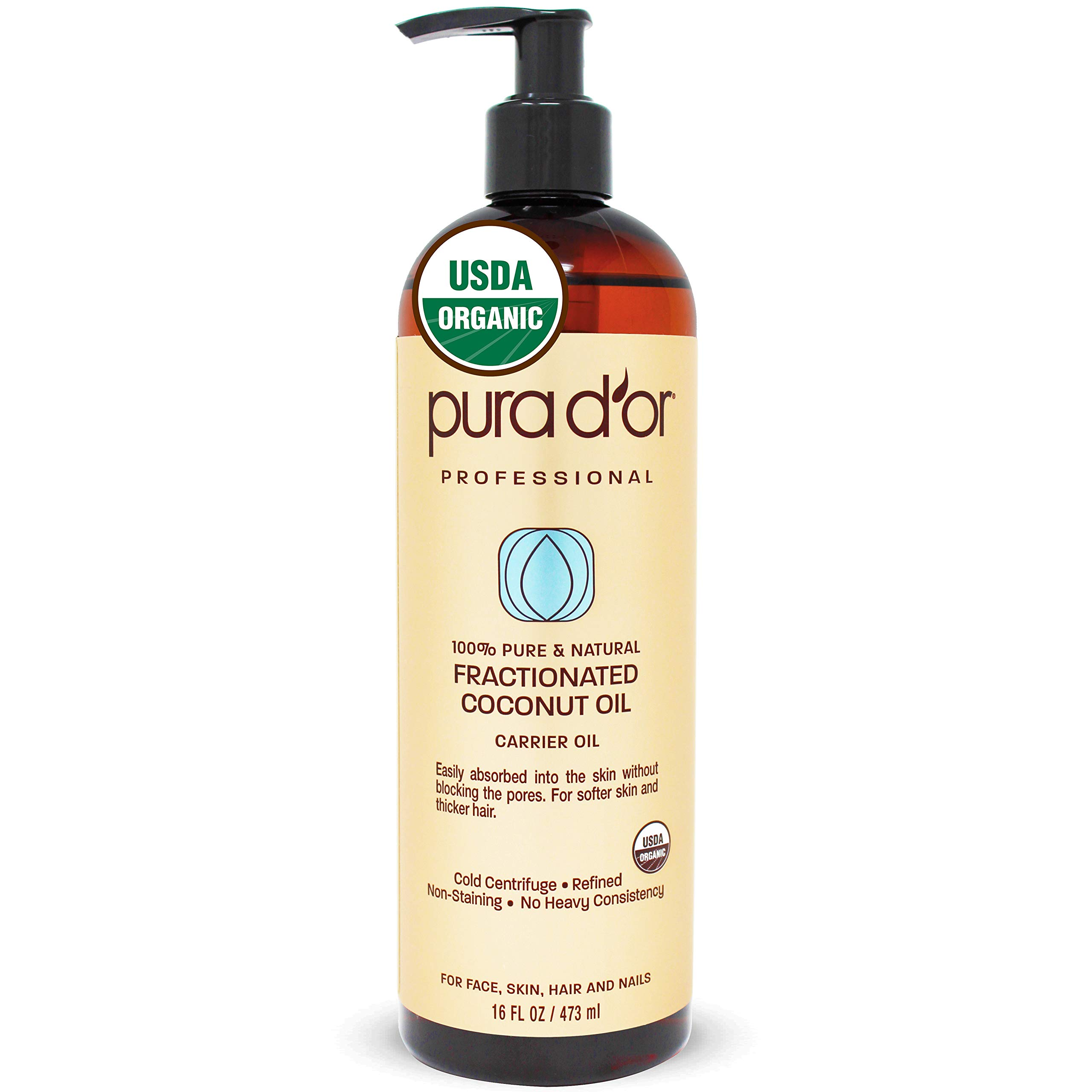 PURA D'OR Carrier Oil: Organic Fractionated Coconut Oil 16 oz - USDA Certified Organic 100% Pure & Natural Hexane Free Moisturizing Carrier Oil For Face, Skin, and Hair by PURA D'OR