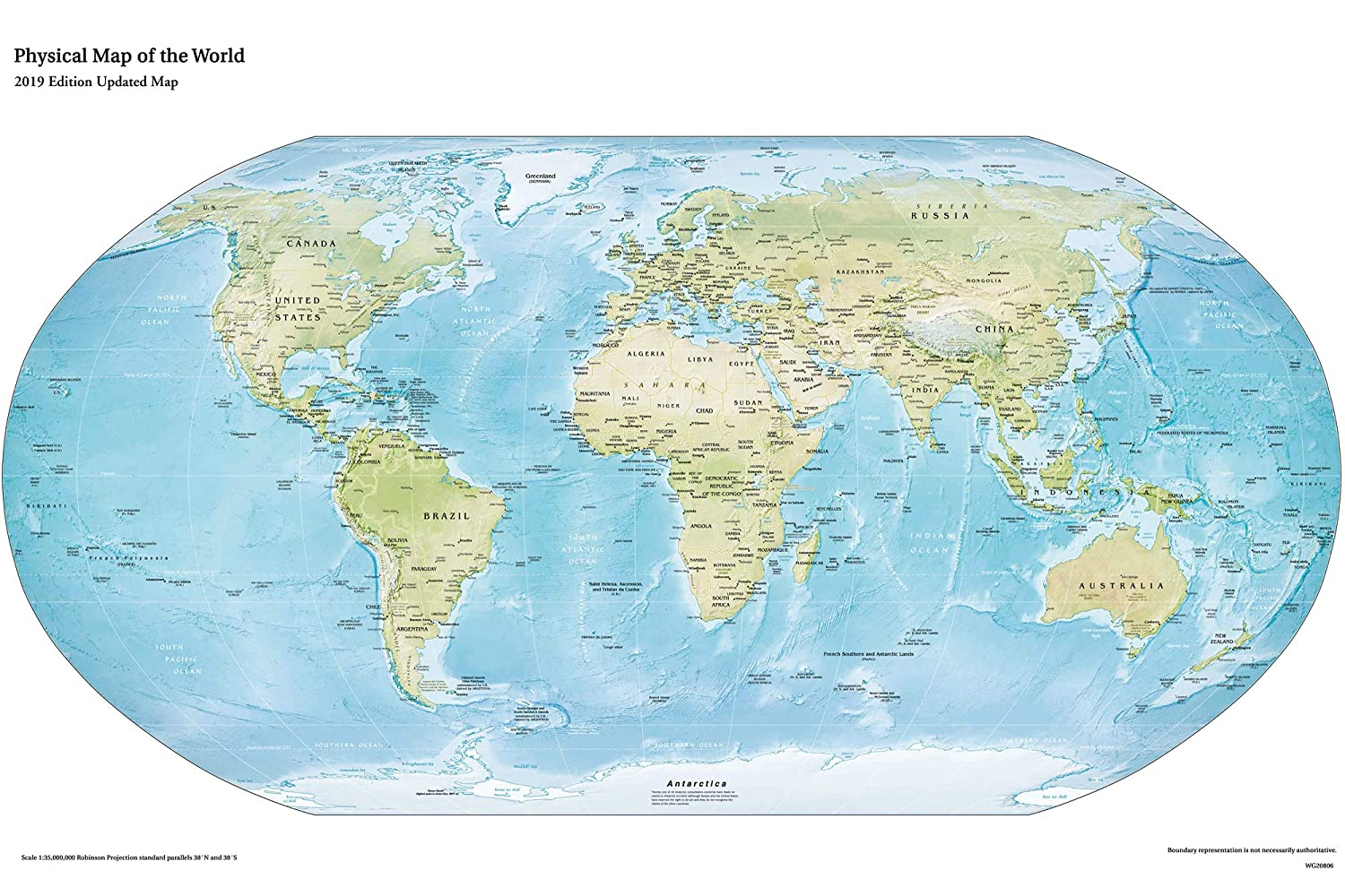 Buy World Map Wall Paper, Physical Map Of The World For ...