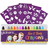 glokers 16-Piece Face And Body Crayons | Non-Toxic, Hypoallergenic Washable Paint Sticks | Sweat Proof Painting Markers For Children And Adult Costume Parties, Halloween, Christmas | Bonus 50 Stencils
