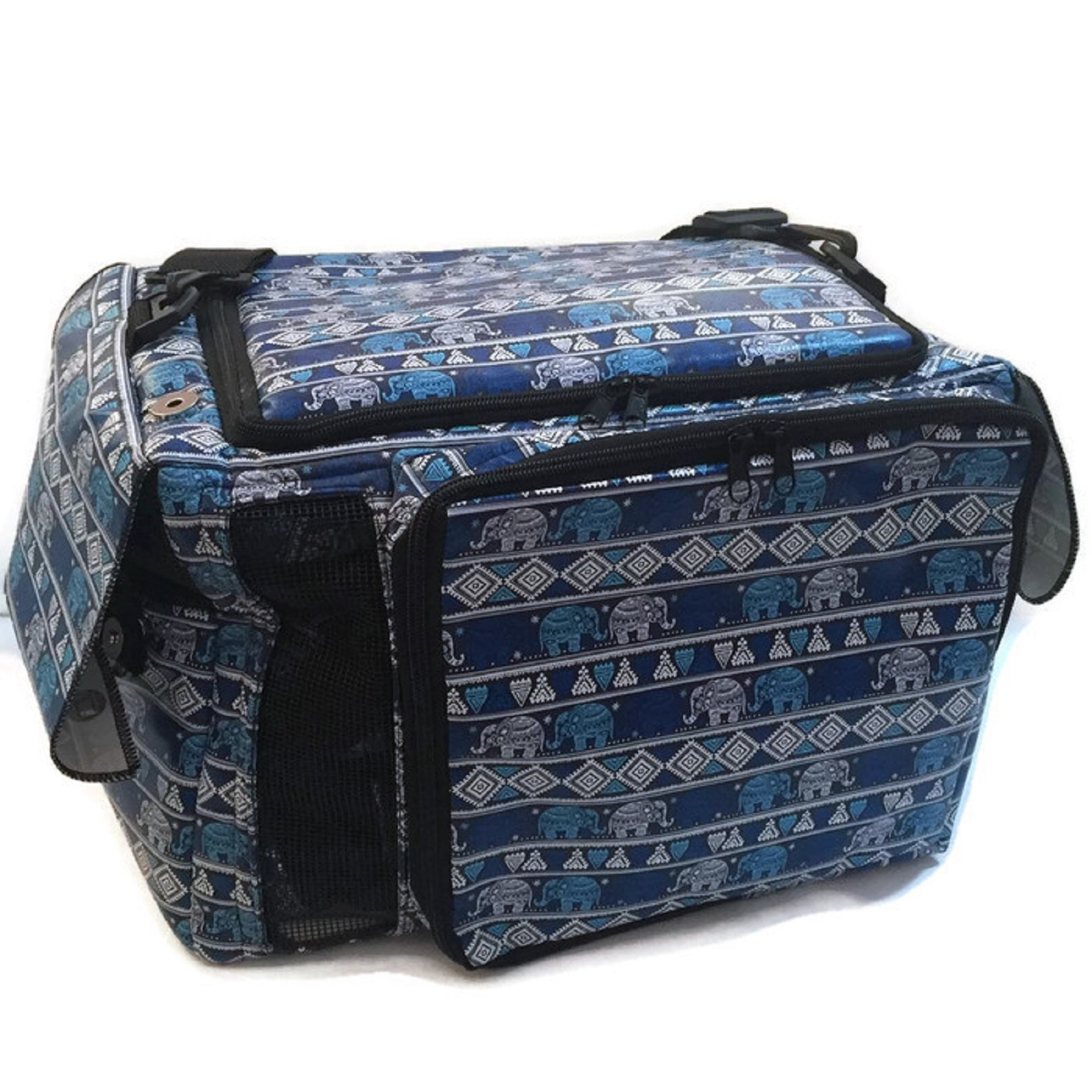 Large PU Leather Thailand Classic Blue Elephant Style Puppy Kitten Sugar Glider Birds Prairie dog Chinchillas Small Pet Travel Cage Shoulder Bag Kennel Carrier By Polar Bear's Republic