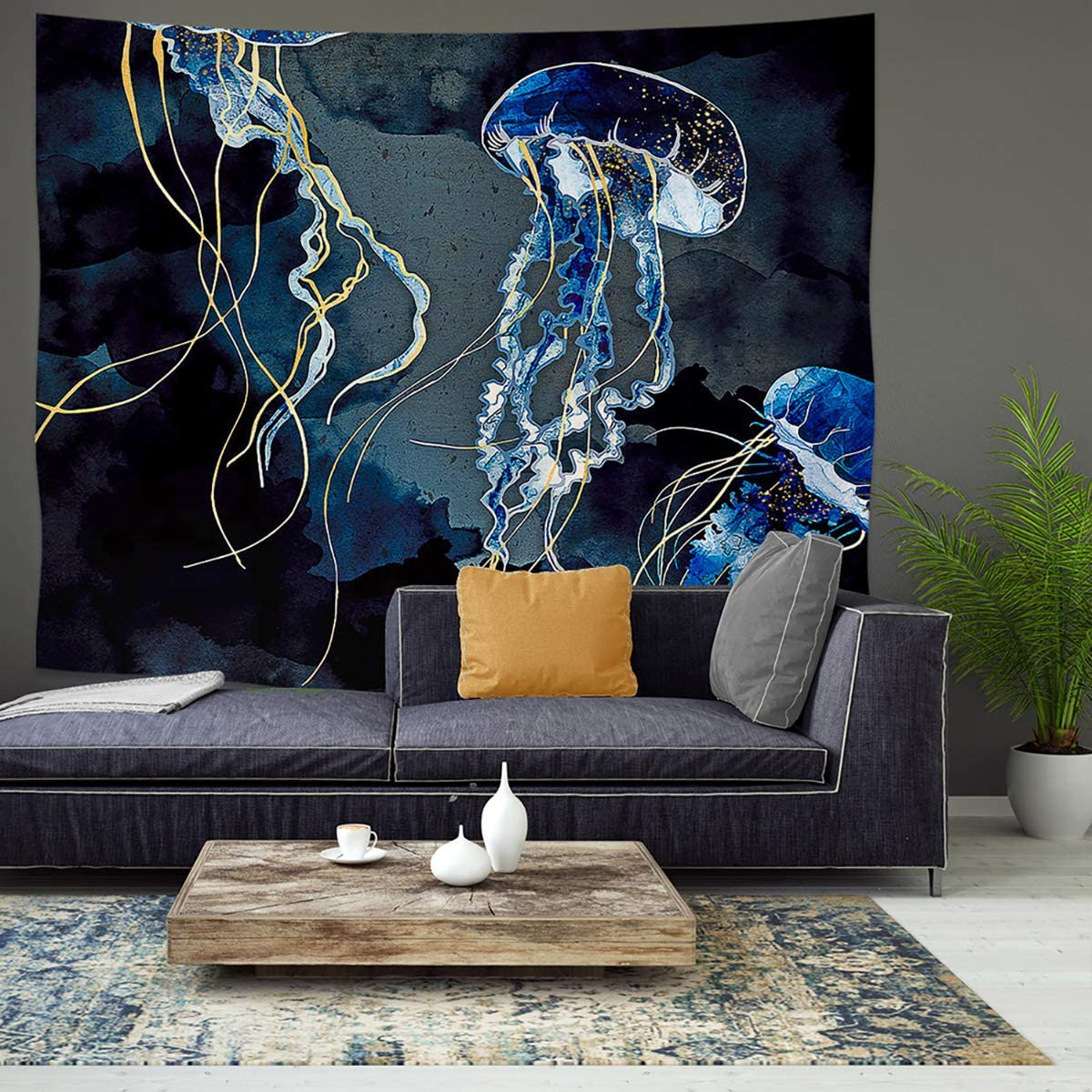 JOYPLUS Fantasy Jellyfish Tapestry, Abstract Under Sea Artistic Black Blue Tapestries, Wall Hanging for Bedroom Living Room Dorm