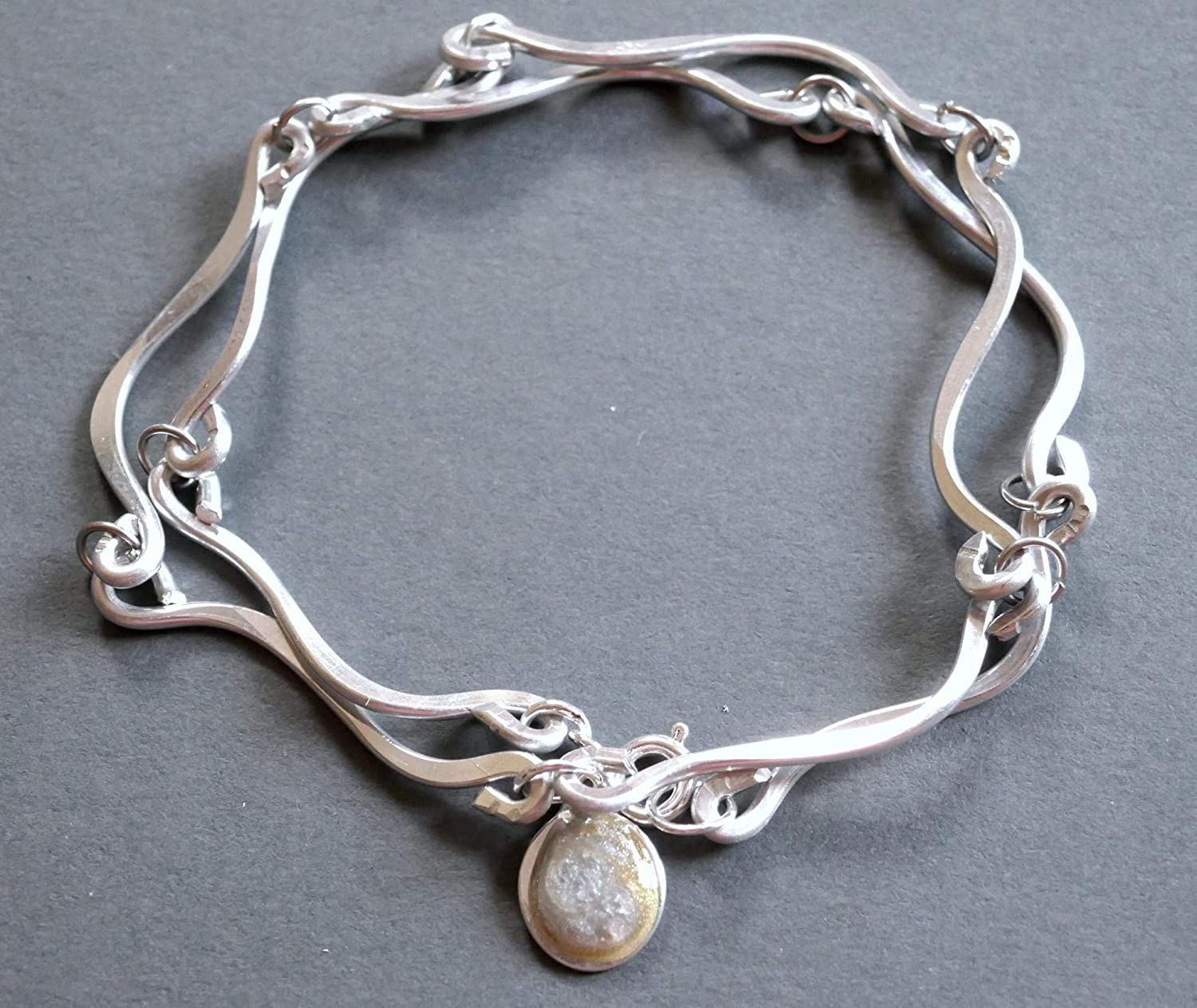 silver and gold resin wrap bracelet