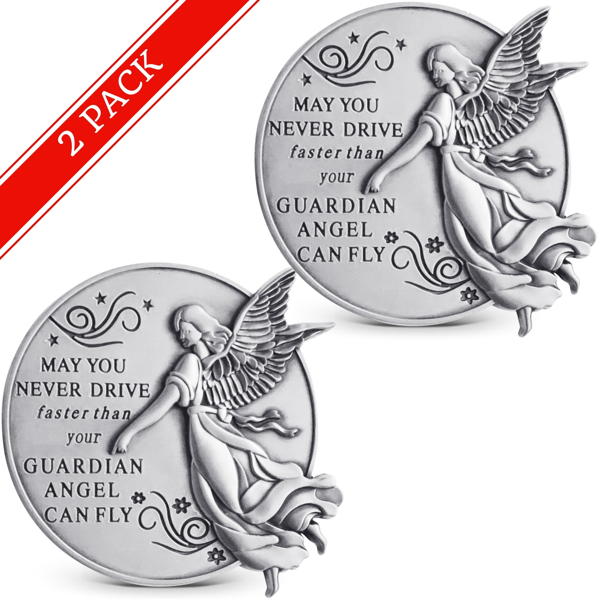 Guardian Angel Visor Clip For Car: (Set of 2) 2-1/4 Inch Diameter Metal, Reads MAY YOU NEVER DRIVE FASTER THAN YOUR GUARDIAN ANGEL CAN FLY, Best Parents Gift Idea for New Driver & Loved Ones Cars (2) by Novelty Station