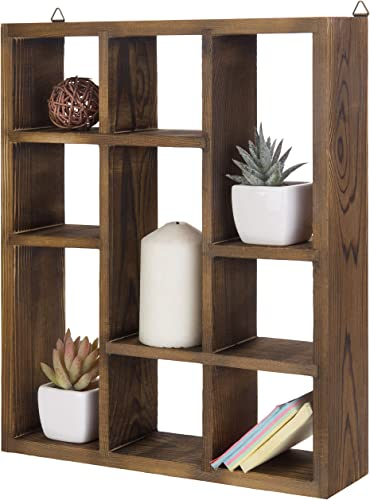 MyGift 9-Compartment Brown Wood Freestanding Wall Mountable Shadow Box Shelf