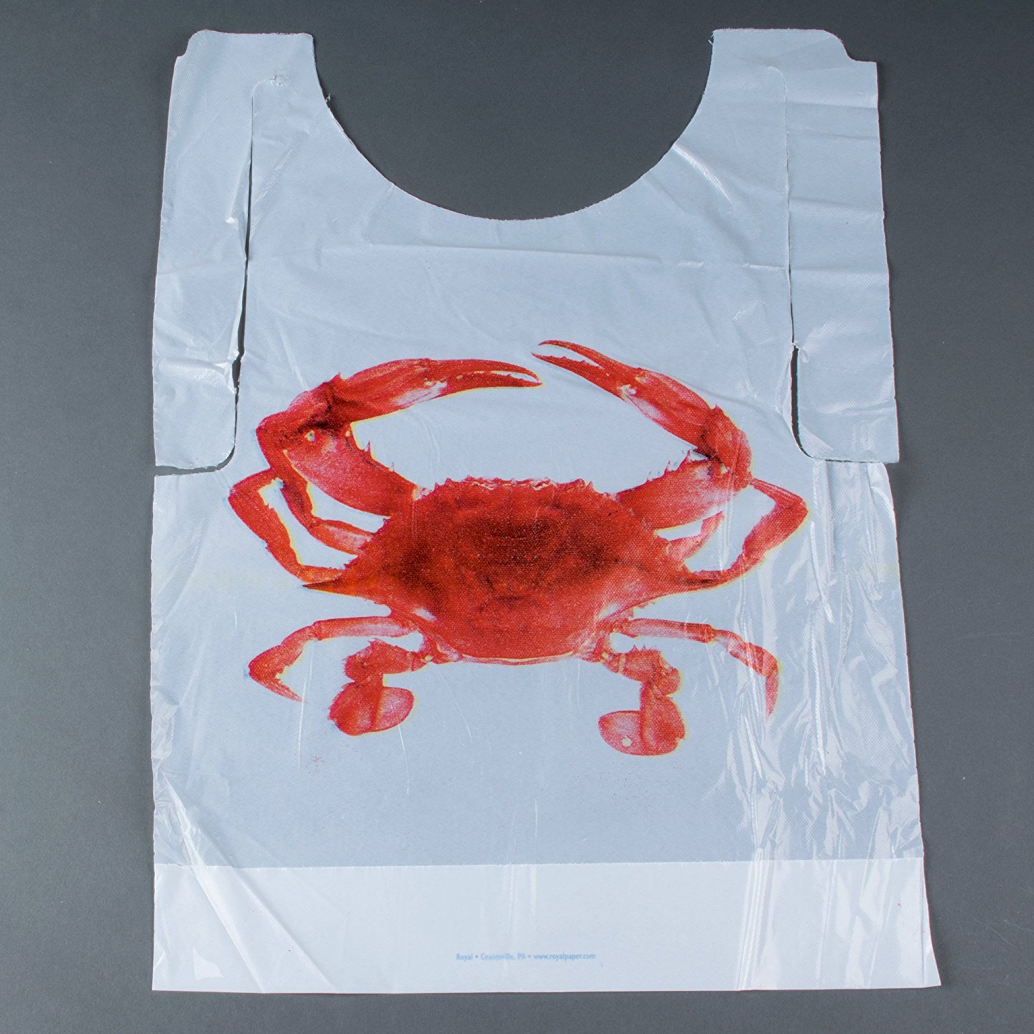 Crab Bibs Adult Size Disposable Bibs,Adult Poly Bibs,Plastic Bibs Size: 20'' L x 15-1/2'' W(50, Crab Bibs (Adult Size))