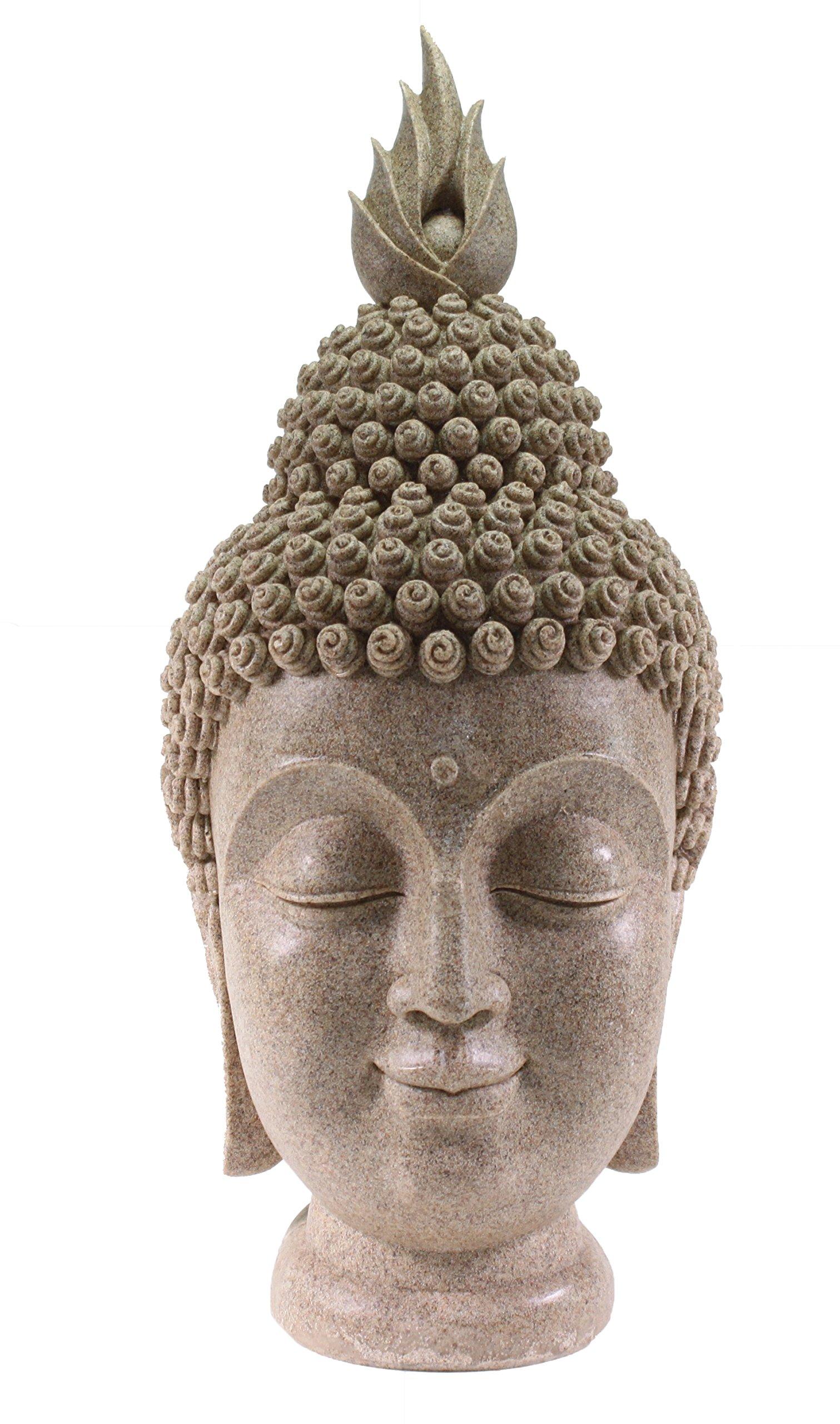 Smiling Meditating Buddha Shakyamuni Head Statue Large 15'' Tall Blessing Mercy & Love