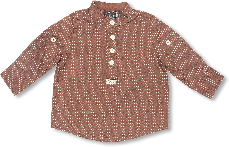 TRASLUZ Camisa Niño Mao M/L, Soho Points Marrón Medio 8 años (128 cm): Amazon.es: Ropa y accesorios