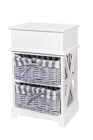 Nachttisch Beistelltisch weiß  mit einer Schublade *603