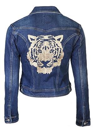 sélection premium 2b9f0 99692 Veste en jean imprimé tête de tigre: Amazon.fr: Vêtements et ...