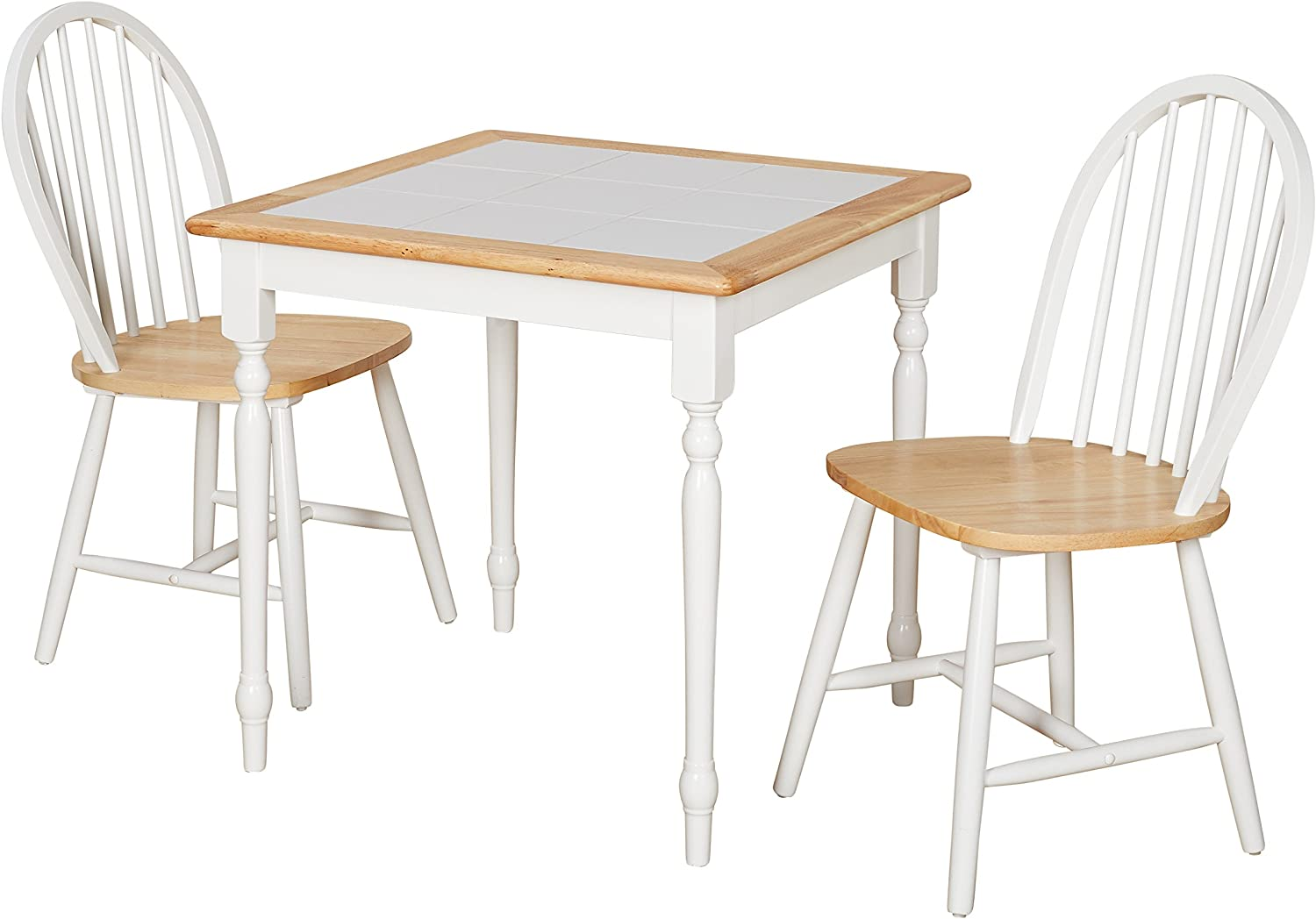Target Marketing Systems Modern Tile Top Kitchen Dining Room Set, 3 Piece, Natural White