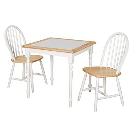Target Marketing Systems 20339 3PC Tile Top Windsor Wooden Dining Set, White /Natural