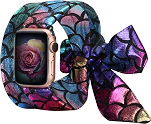 Wearlizer Compatible with Apple Watch Bands Scarf 42mm 44mm for iWatch Band Women Girls Fashion Scarf Replacement Wrist Strap for Apple Watch SE Series 6 5 4 3 2 1 - Color Fish Scales