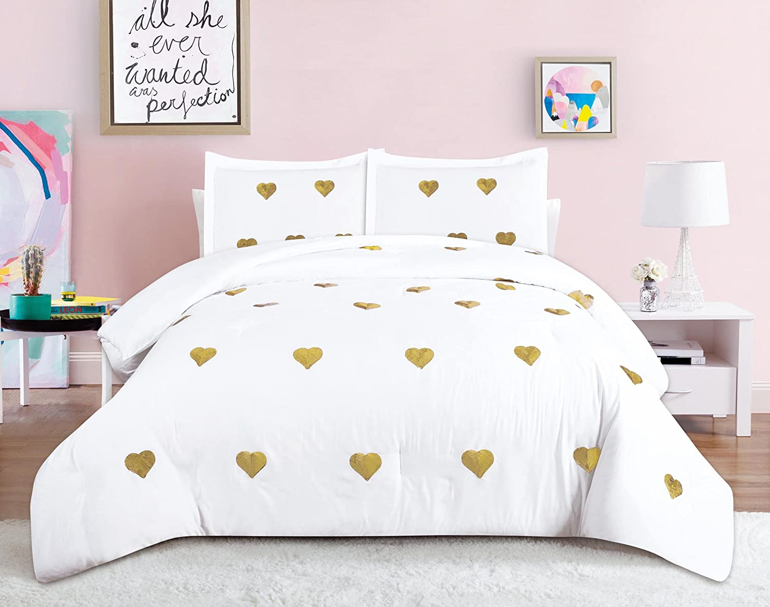 Amazon Com Beatrice Home Fashions Sequin Hearts Comforter Set