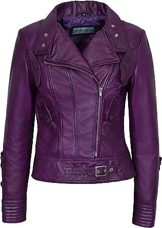 Womens Leather Jacket Stylish Motorcycle Biker Genuine Lambskin 101