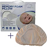 Baby Head Shaping Memory Foam Pillow & Bamboo Pillowcase. Luxury Baby Shower Gift to KEEP a baby's head round. Prevent Plagiocephaly. (Bundled With Extra Pillowcase)