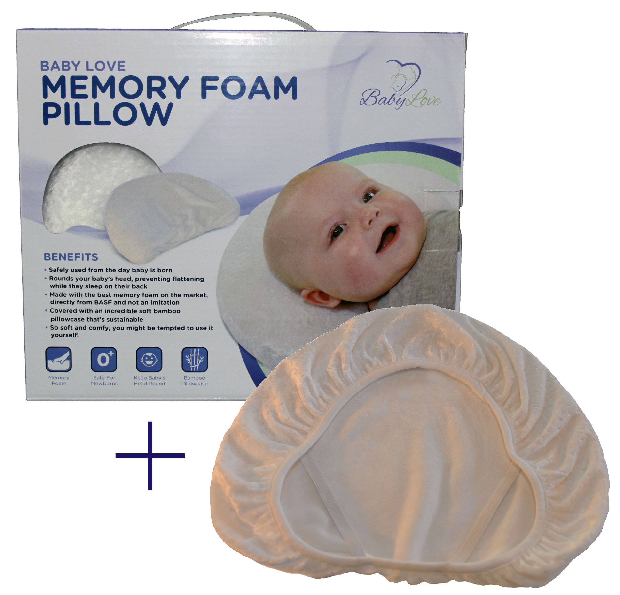 Baby Head Shaping Memory Foam Pillow & Pillowcase. Luxury Baby Shower Gift to KEEP a baby's head round. Prevent Plagiocephaly. (Extra Pillowcase) by Baby Love USA (Image #1)