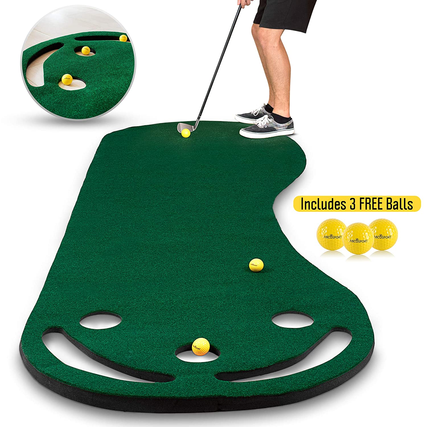Abco Tech Golf Putting Green Grassroots Mat - 9ft x 3ft - Outdoor and Indoor Use - Perfect for Practicing and Training - Includes Free 3 Yellow Golf Balls