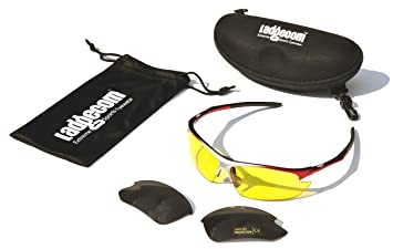Black & Red Ladgecom Sports Sunglasses with Smoke Lenses and Spare Yellow Lens with Case and Cloth ROokRBcT6