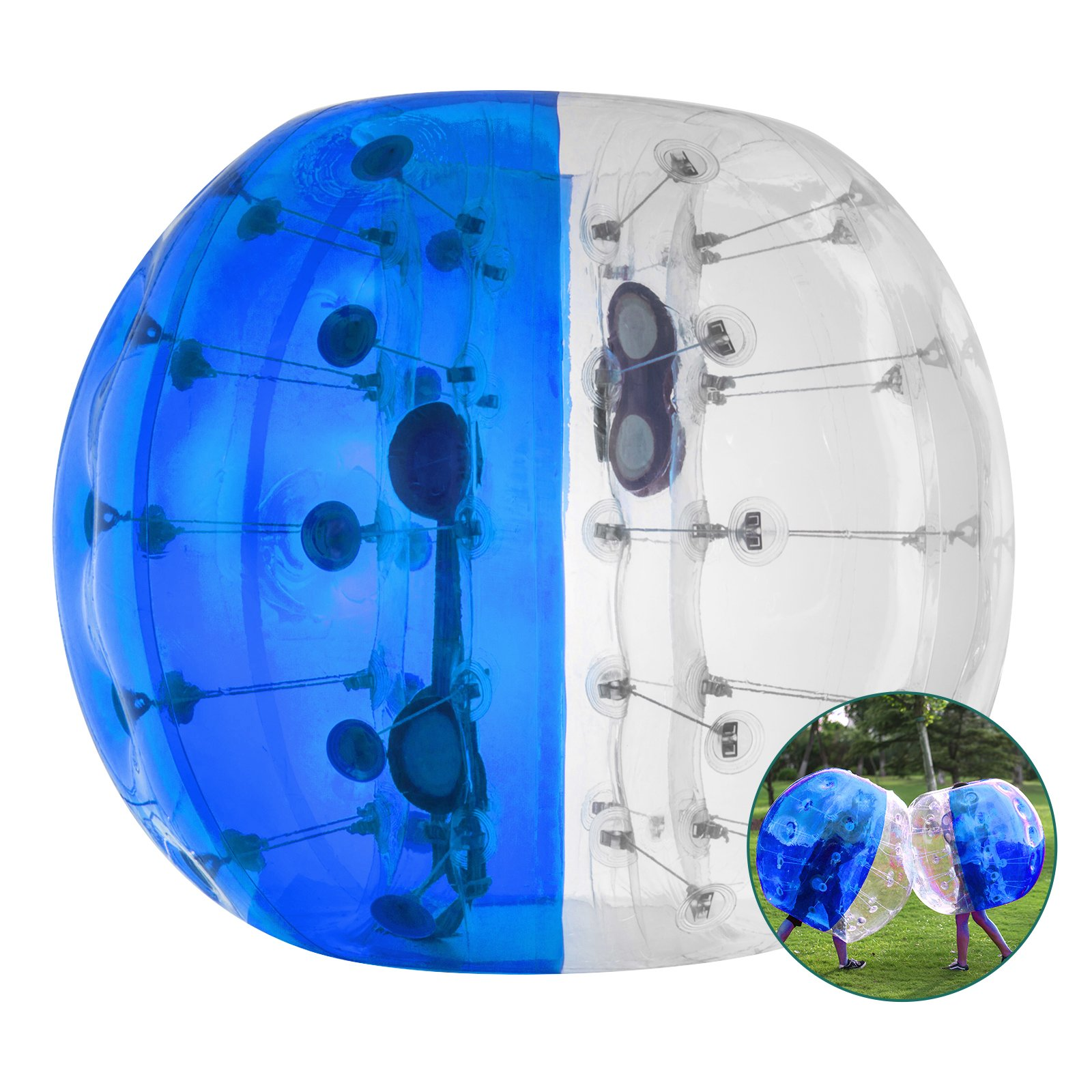 Happybuy Inflatable Bumper Ball 1.2M/4ft 1.5M/5ft Diameter Bubble Soccer Ball Blow Up Toy in 5 Min Inflatable Bumper Bubble Balls for Adults or Child (Half Blue, 5ft)