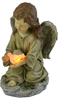 Moonrays Solar LED Fairy Garden Decor In Angel With Glowing Dove Design