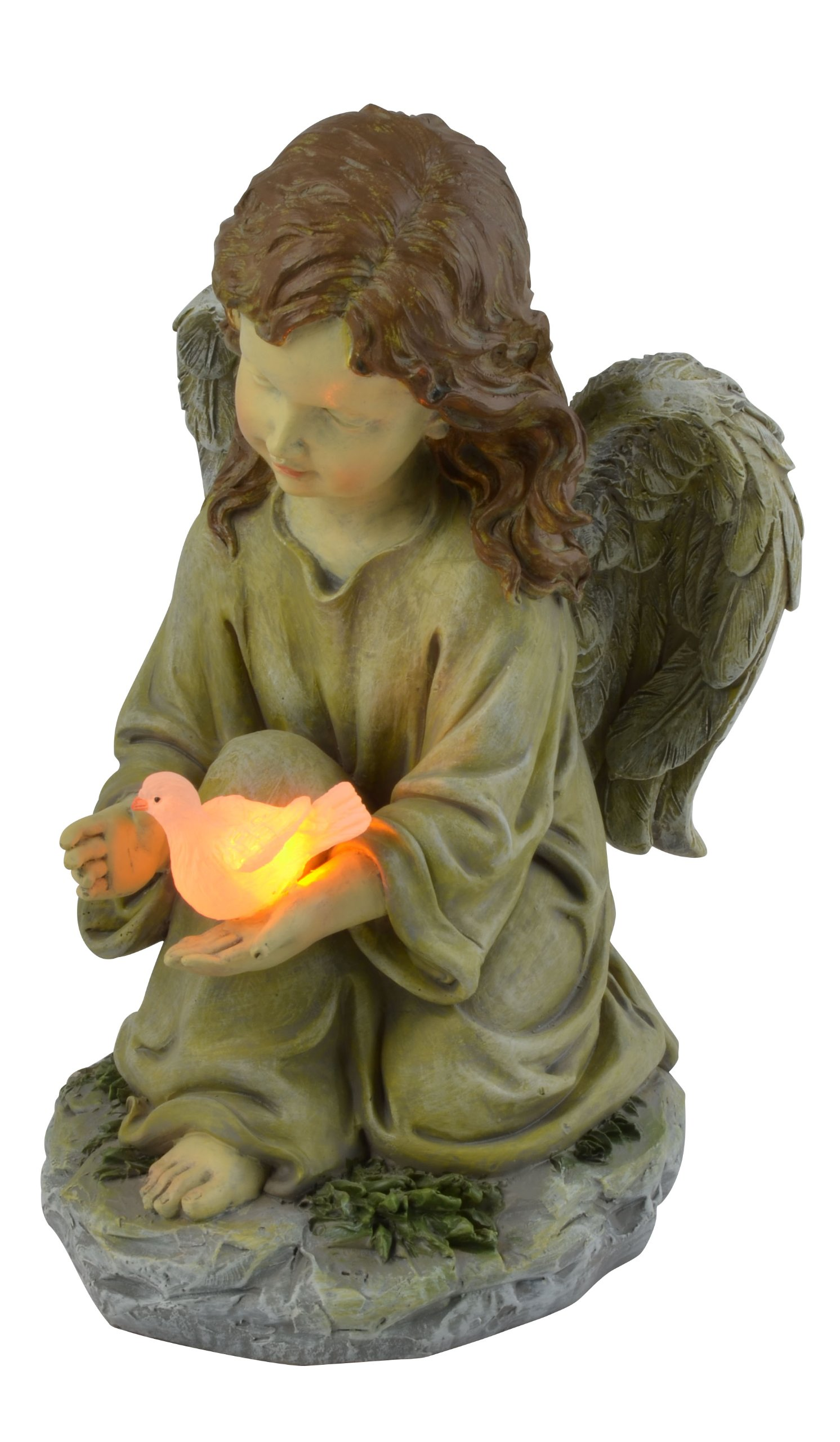 Moonrays Solar LED Fairy Garden Decor In Angel With Glowing Dove Design by Moonrays