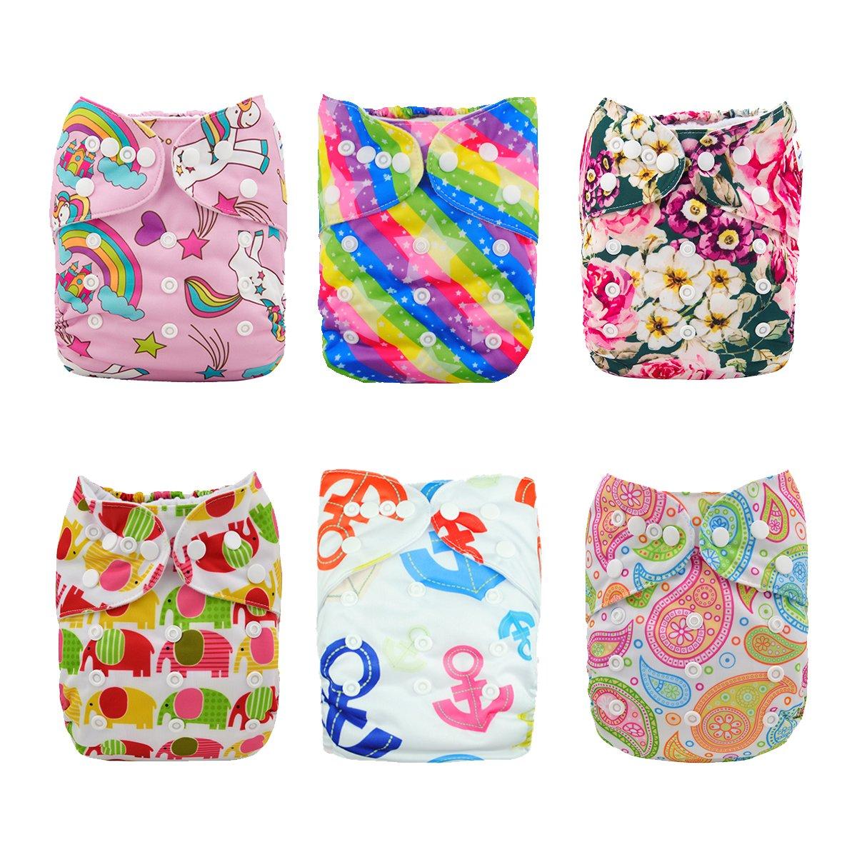 Amazon.com : Alva Baby CADA paquete tiene 6pcs pañal y 2 inserciones ajustado pañal reutilizables de Tela (Color Unisex) 6DM18-ES : Baby