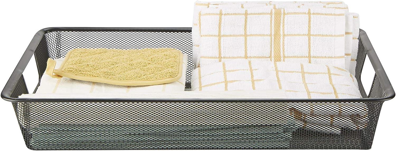 Mind Reader SMD-BLK Basket with Handles, Storage, Organizer Bin, Bathroom, Bedroom, Office, Black Small
