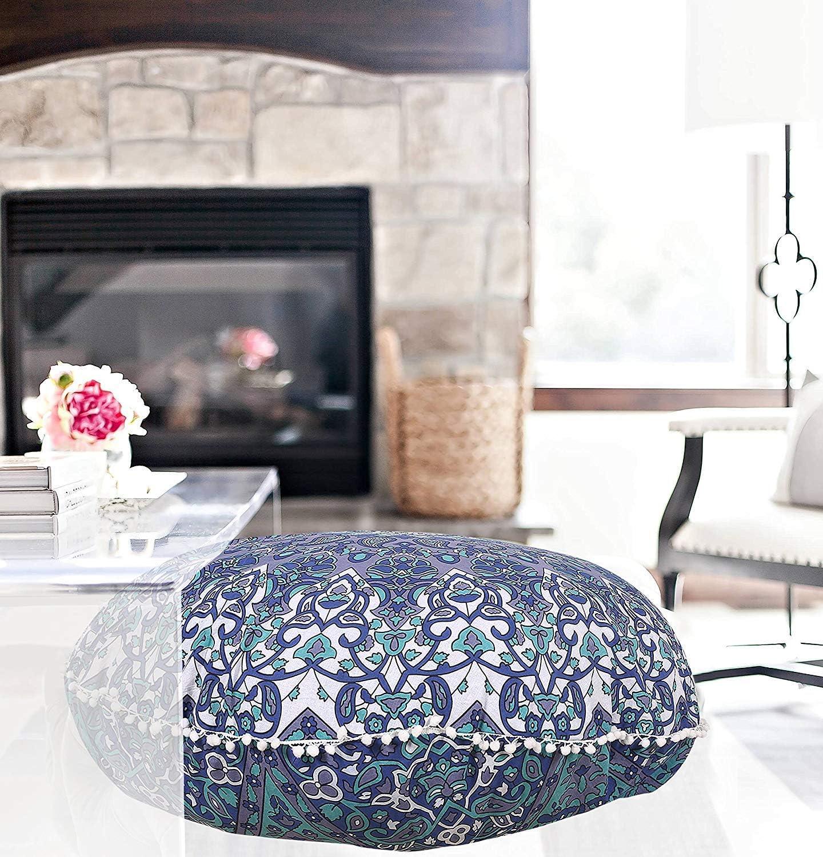 "32"" Blue Star Mandala Floor Pillow Meditation Bohemian Cushion Seating Throw Hippie Decorative Boho Indian Large Ottoman Outdoor Home Decor Cases Round Sham Cotton Elephant Animal Pouf (Cover Only)"