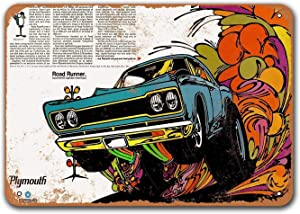 Sisoso Coffee Club Wall Decor Game Room Office Dorm 1967 Plymouth Road Runner 2 Old Car Tin Sign Vintage Metal Bar Poster Bar Garage 12x8 inches