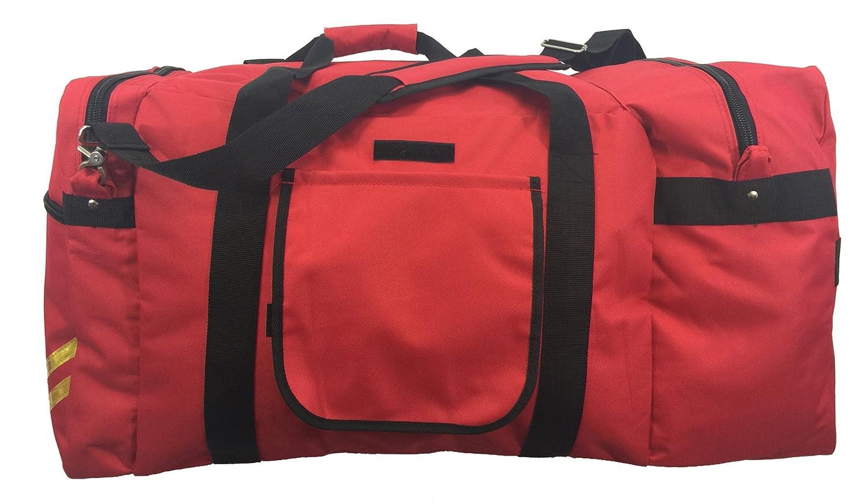 Rolling Firefighter Gear Bag Fireman Equipment Duffel with Wheels Paramedic Wheeled Travel Bags Helmet Pocket LM027-Red