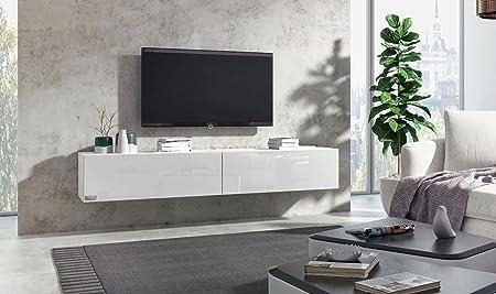 Wuun Tv Board Hängend8 Größen5 Farben240cm Matt Weiß Weiß Hochglanzlowboard Hängeschrank Hängeboard Wohnwandhochglanz Naturtönesomero