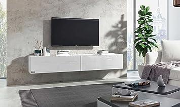 Wohnwand weiß hochglanz hängend  Wuun® TV Board hängend/8 Größen/5 Farben/160cm Matt Weiß- Weiß ...