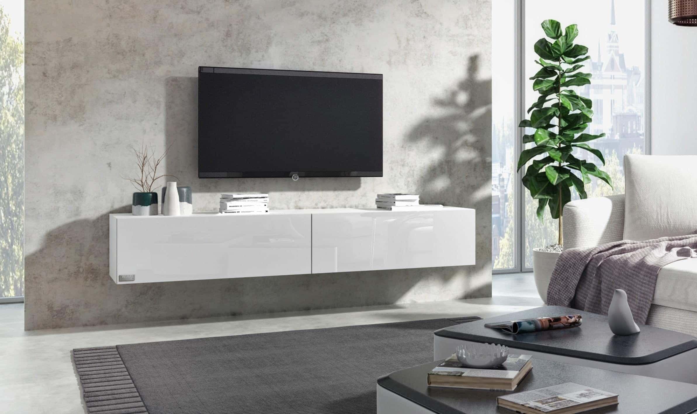 wuun tv board hangend 8 grossen 5 farben 160cm matt weiss
